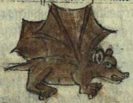 Medieval manuscript image of a mouse with bat wings.