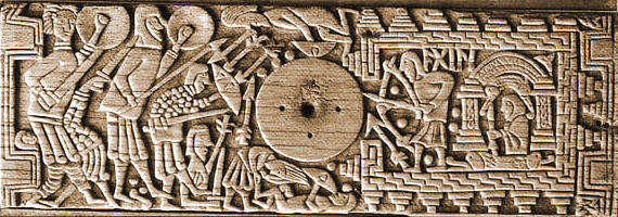 A carved panel from the Franks Casket depicting a man and woman in the bricked square. The man is shooting arrows out of a hole towards an attacking army with spears and shields.
