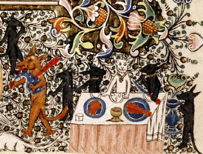 Medieval manuscript image of several dog-like animals walking on their hind legs, picking up food from a buffet table with a highly detailed plant background.