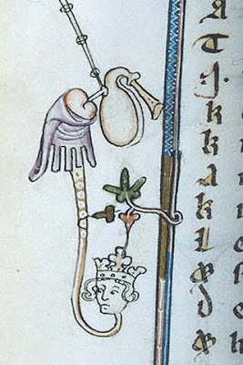 Medieval manuscript image of a hybrid animal, with crowned human head and serpentine body, playing the bagpipe through its anus.