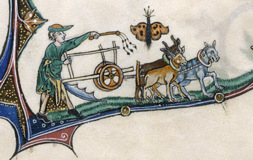 Detail of a marginal scene of a man  with a whip, plowing with oxen, with a butterfly above.