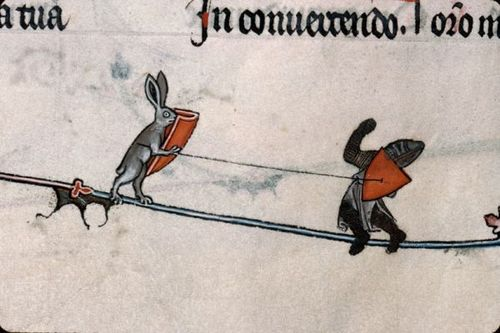 Metz-Pontifical-Medieval-Illustrated-Manuscript-of-a-fighting-hare-1305