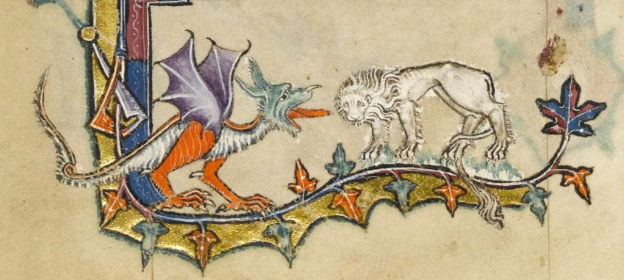 Macclesfield-Psalter-43v-Detail-of-Dragon-and-Lion