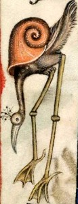 Snail-bird, from The Luttrell Psalter, British Library Add MS 42130 (medieval manuscript, 1325-1340), f171v