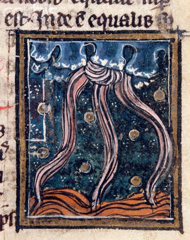 Medieval Manuscript Illumination of Lightning and a Cloudburst Over the Sea