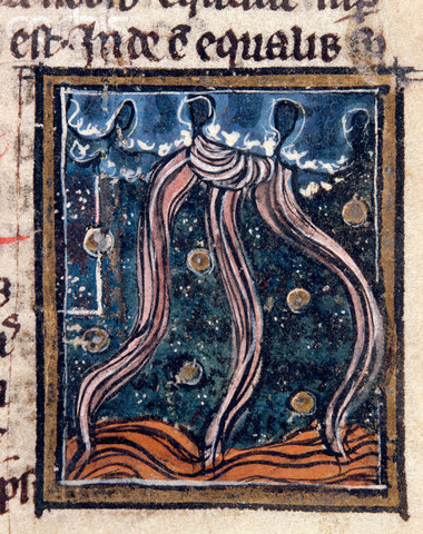 Medieval Manuscript Illumination of Lightning and a Cloudburst Over the Sea From Albertus Magnus'