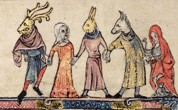 A medieval manuscript illustration of five figures holding hands in a procession or dance. From left to right, a man with a deer head, a human woman, a man with a rabbit head, a man with a boar head, and a human woman.