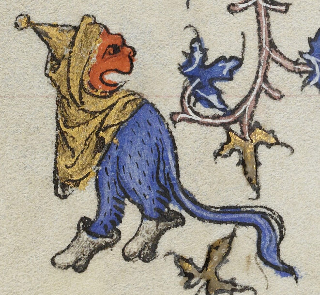 A medieval manuscript illustration of a blue hairy creature with an orange face, wearing a hood and boots. Its mouth is open.