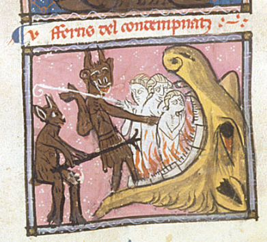 A manuscript illustration shows two hairy brown devils forcing three naked humans into the flames in a giant beast's mouth. One of the sharp implements used to poke and prod the humans appears to be a long fork.