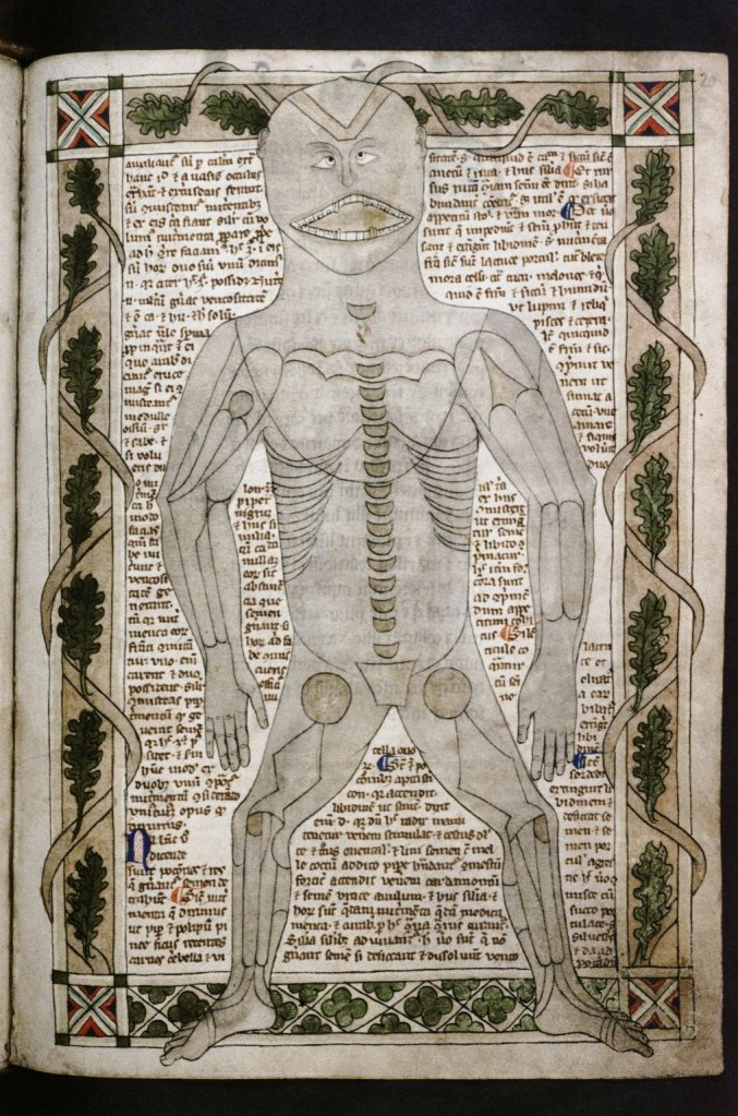 A man's body appears on a manuscript page. His bones are drawn on top of body. The man has a bemused expression. He is cross-eyed with a disproportionately large mouth.
