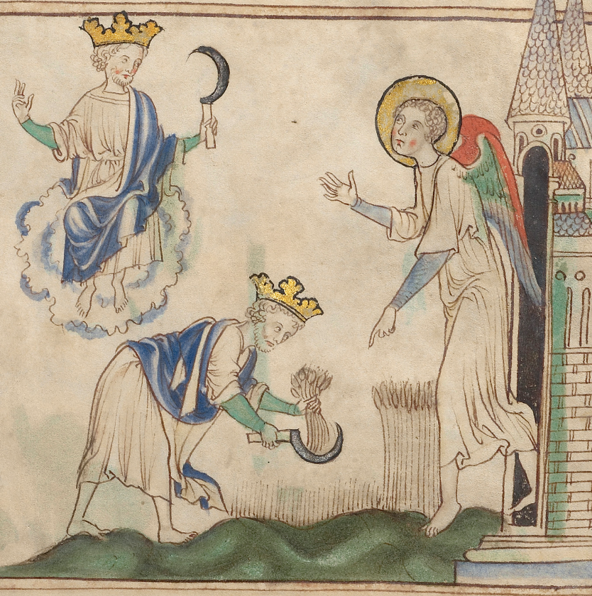 Medieval manuscript illustration of king sitting on a cloud with a sickle and the same king using the sickle to harvest grain, which an angel is pointing to.