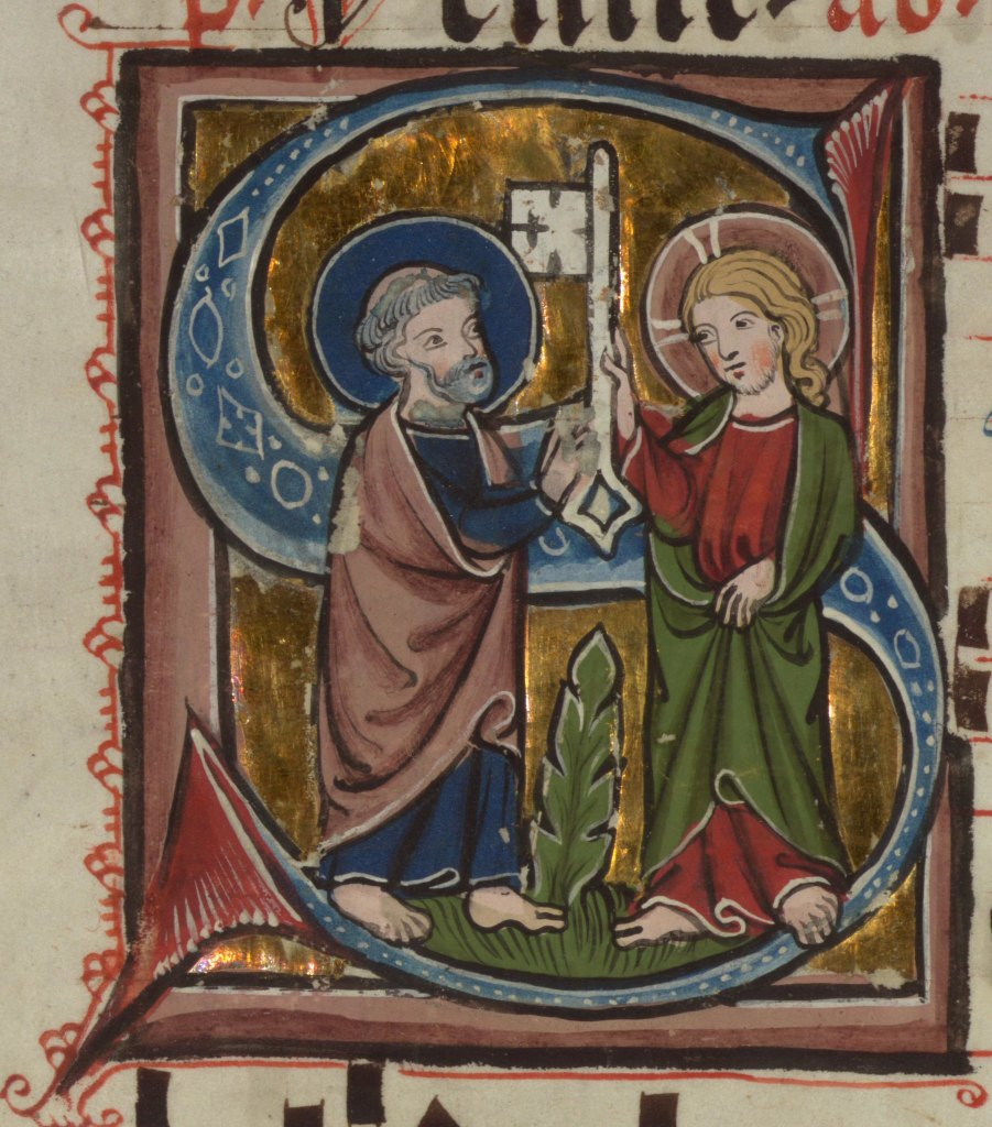 Medieval manuscript image of two men with halos, the younger one handing a giant key to the grey-haired older one.