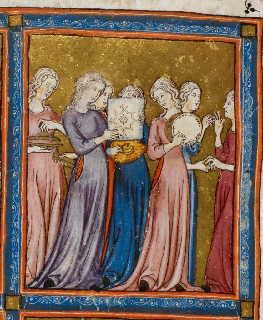 Medieval manuscript image of a group of women in long, flowing dresses playing musical instruments, including a timbrel, lute and cymbals.