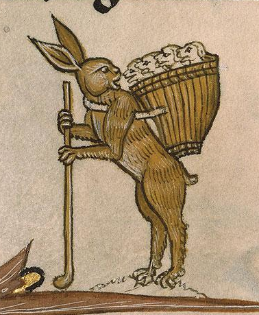 Medieval manuscript image of a rabbit standing on its hind legs, holding a walking stick, and carrying a basket of puppies on its back.