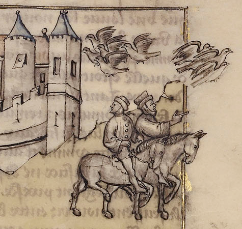 Medieval manuscript illustration of two men riding horses and looking around, with two flocks of birds above them flying in opposite directions.