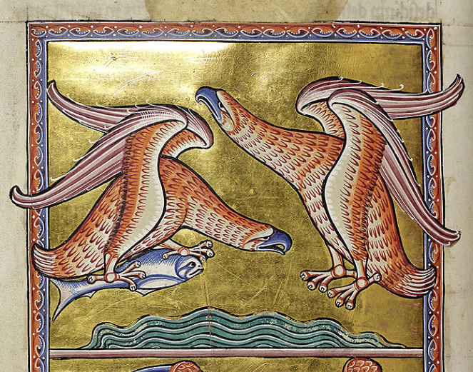 Medieval manuscript image of two eagles flying over a body of water. One eagle has a fish in its talons.