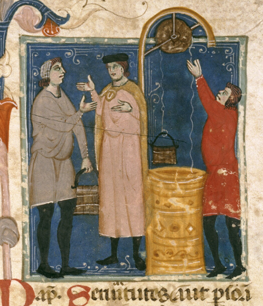 Medieval manuscript image of two men talking by a well, one of whom is holding a bucket, and a third man drawing water from the well using a pulley system.