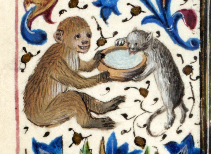 Medieval manuscript image of a cat lapping milk from a bowl held by a grinning monkey.