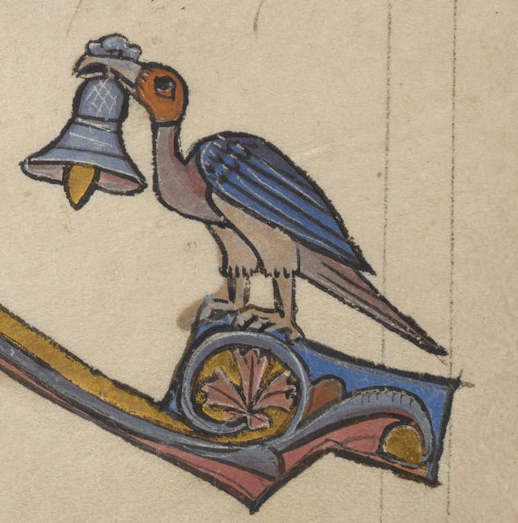 Medieval manuscript image of a red-and-blue, eagle-like bird holding a large bell in its beak.