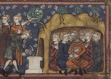 Medieval manuscript image of seven men huddled in a cave, with a man outside hammering a stone into place in front of the entrance.