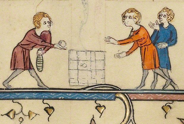Medieval manuscript image of three boys playing a game with a five-by-five grid, a ball, and some kind of pin or bat.