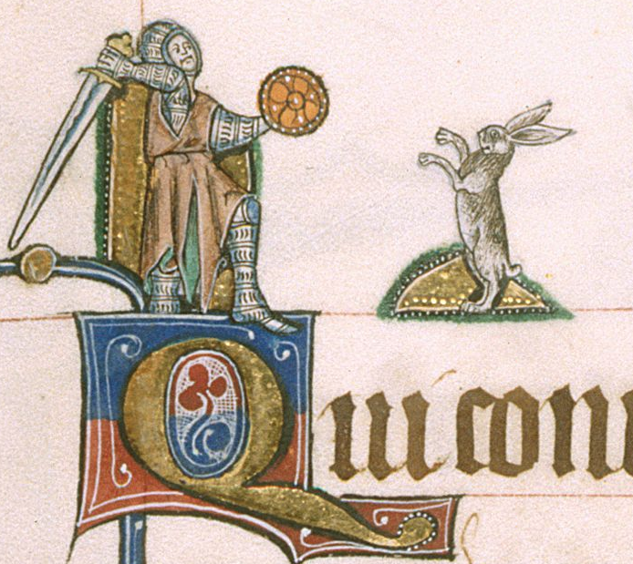 Medieval manuscript image of a knight drawing near a rabbit that stands on its hind legs; the knight holds a small shield and swings a very large sword over his shoulder.