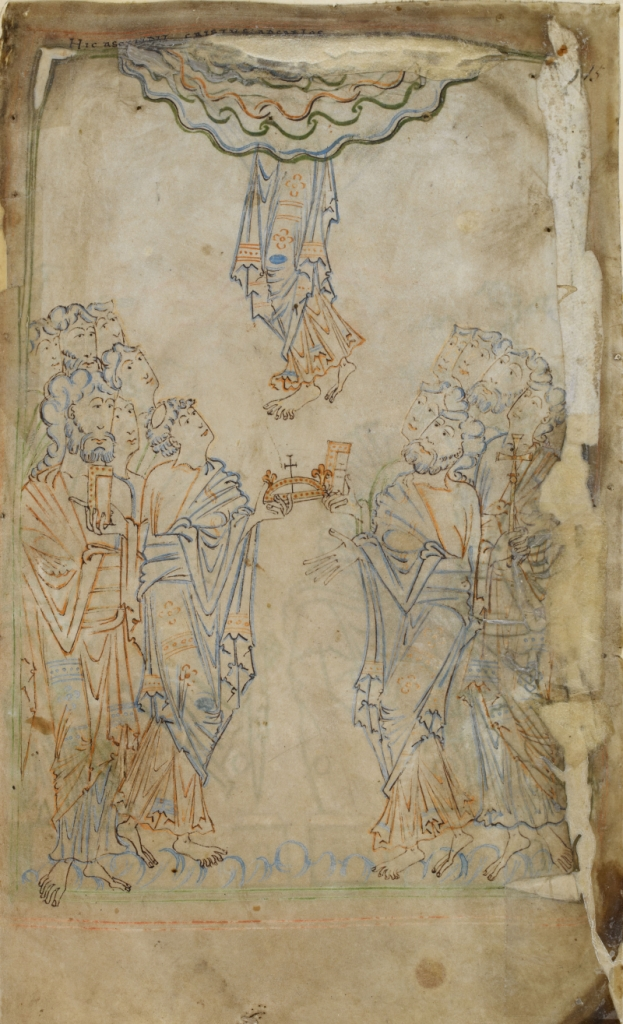 Medieval manuscript image of a man disappearing into the clouds, only his lower half visible to the onlookers below.