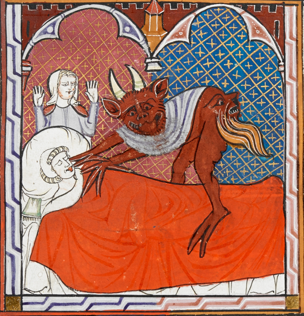 Medieval manuscript image of a horned devil with a face on its rear end. The devil sits on a dead man in bed, reaching towards his mouth to take his soul, while a frightened woman looks on.