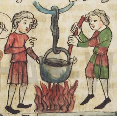 Medieval manuscript image of a pot suspended on a chain above a fire, with one man watching and another stirring.
