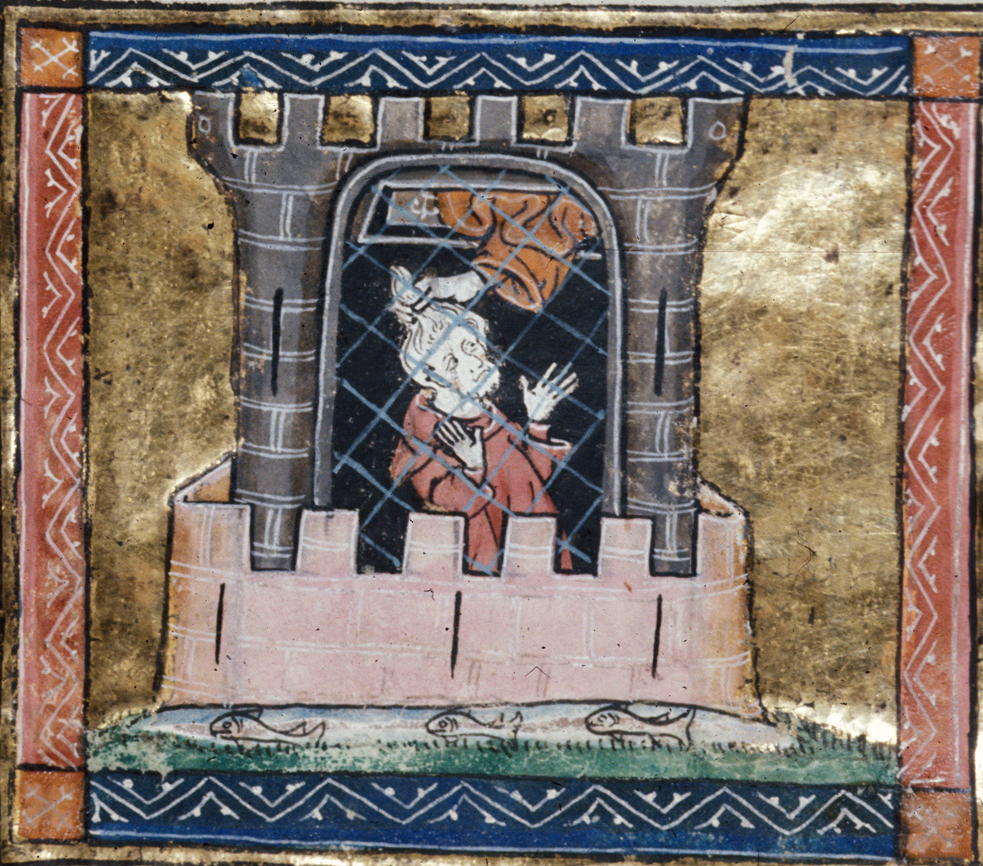 Medieval manuscript image of a man in prison and an arm reaching down into the prison to pull him out by his hair.