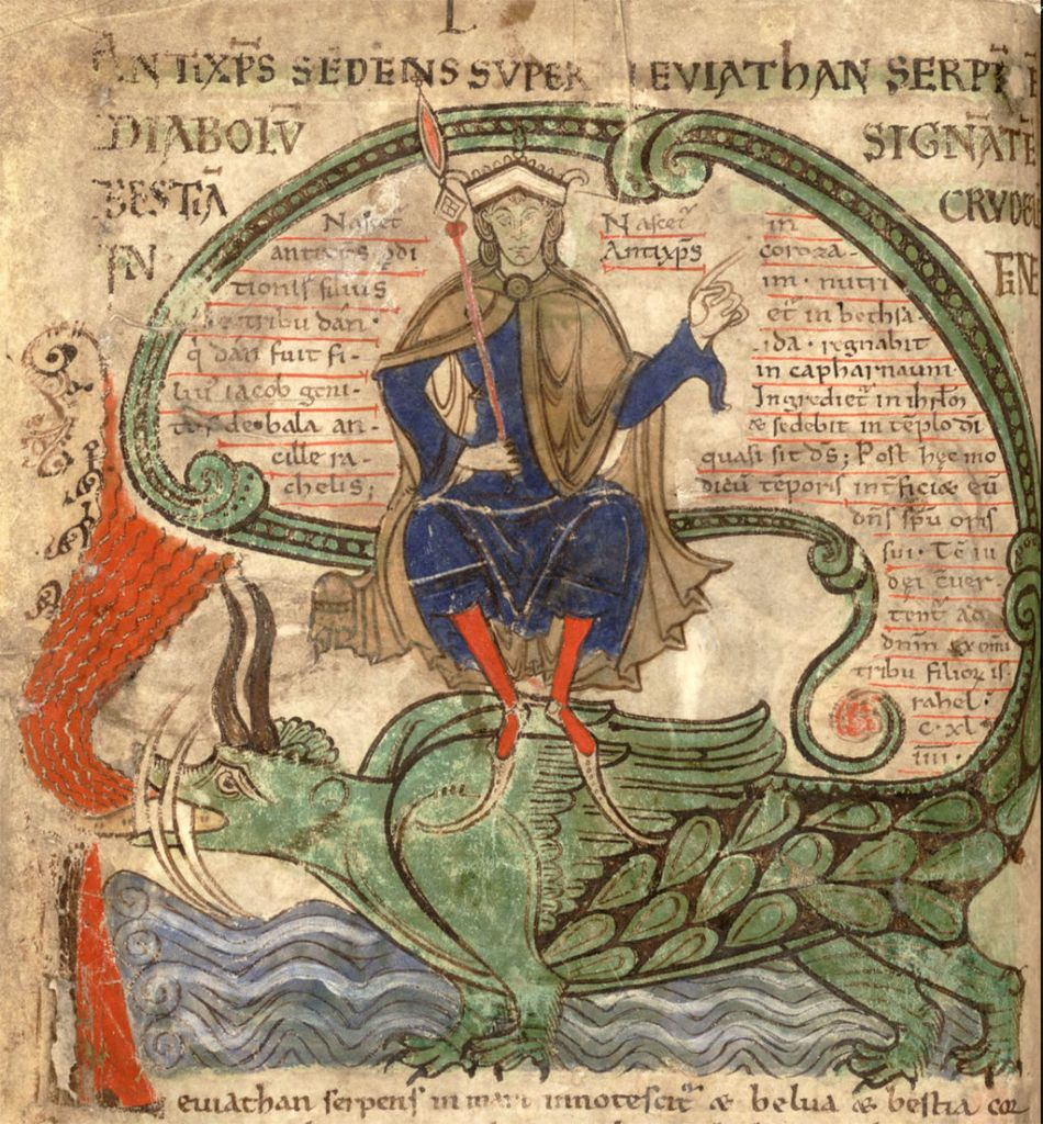 Medieval manuscript image of the Antichrist, a crowned man in a blue robe and red stockings, sitting atop the Leviathan, a green, fire-breathing sea monster.