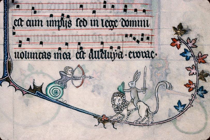 Medieval manuscript image of a snail-human hybrid with a bow and arrow approaching a rabbit who rides a lion and brandishes a sword.