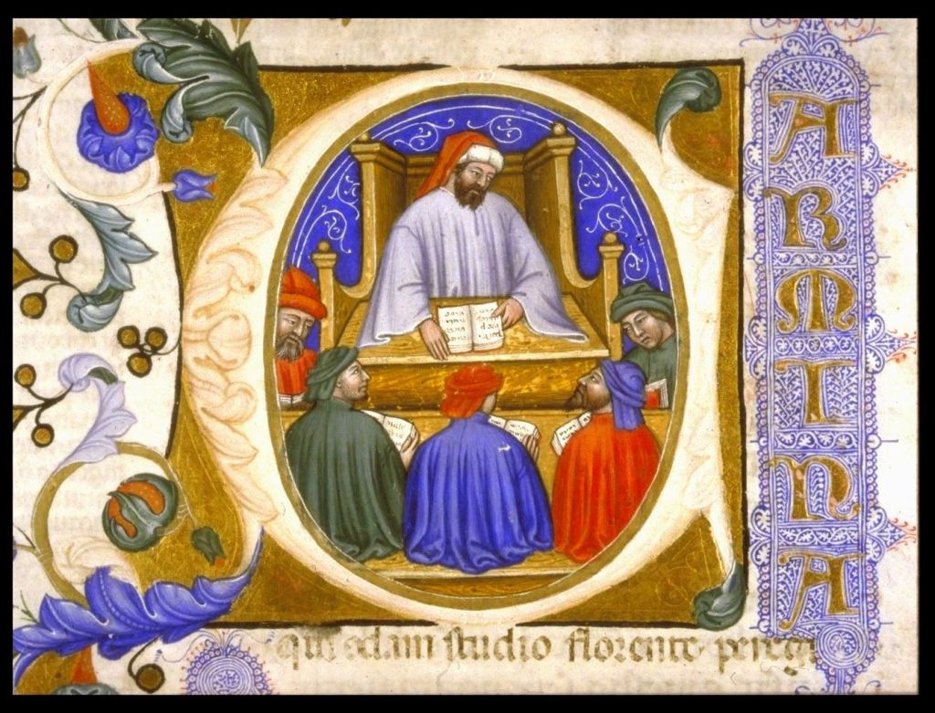 Medieval manuscript image of a man sitting in a wooden chair, holding a book open on the desk in front of him, while five other men hold their own books and listen to him attentively.
