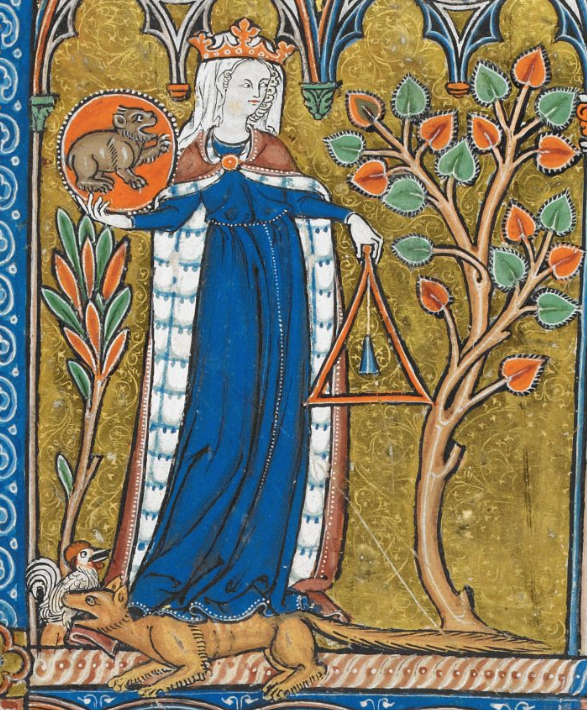 Medieval manuscript image of a woman wearing a crown and cloak, holding a pendulum in one hand and a red circle with a furry animal in the other; at her feet are a rooster and a fox.