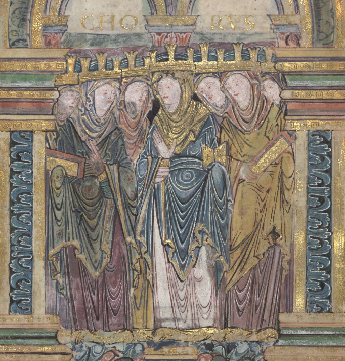 Medieval manuscript image of seven women in gold crowns standing close together and holding books; above them, the word CHORUS is written in gold.