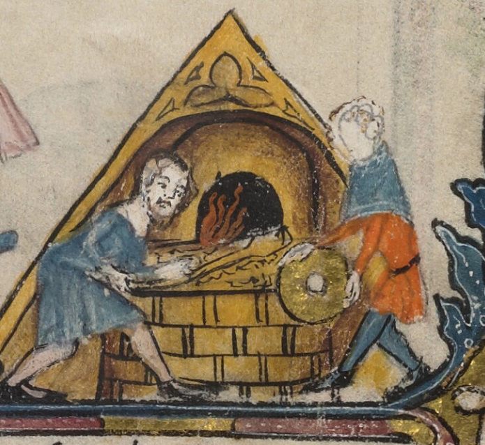 Medieval manuscript image of two men baking something in a triangular, wood-fired oven.