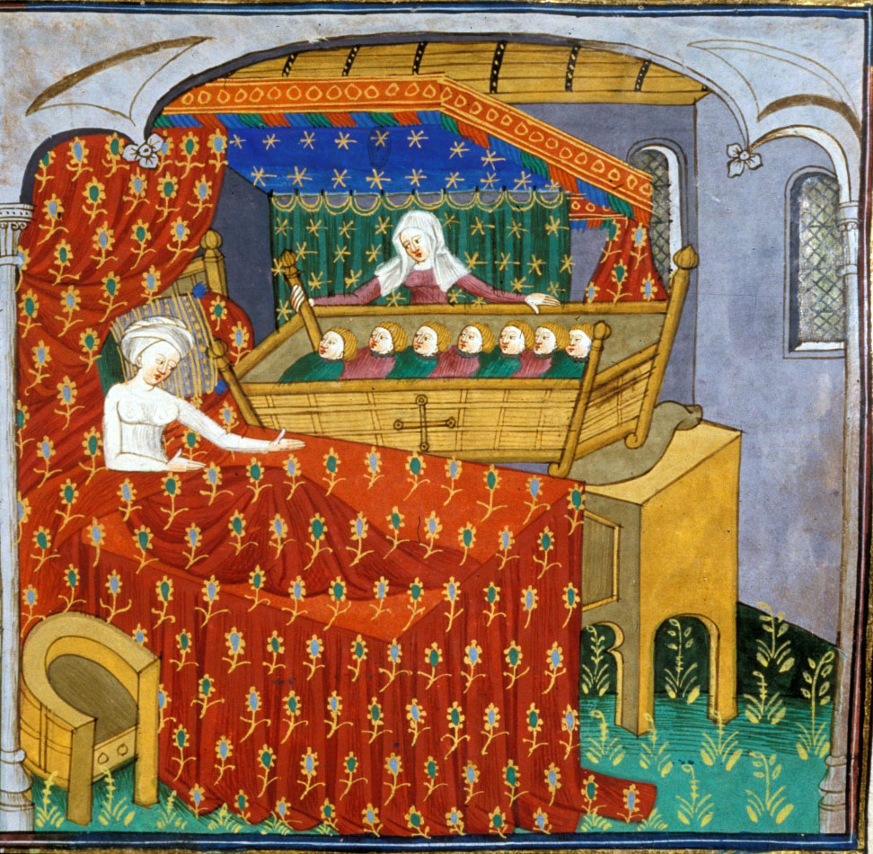 Medieval manuscript image of a woman sitting up in bed, gesturing toward an immense cradle containing her seven infants. The cradle is being held from behind by a second woman.