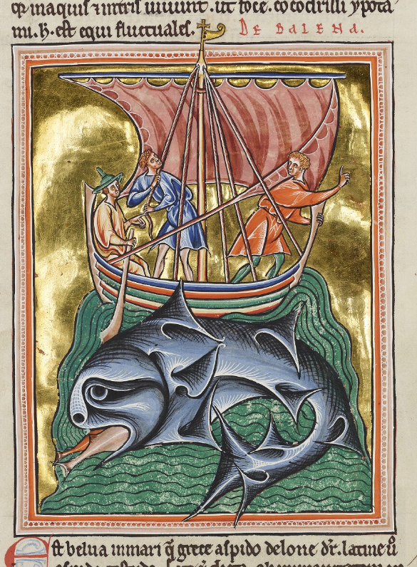 Medieval manuscript image of a boat carrying three men on the back of a giant fish-eating whale.
