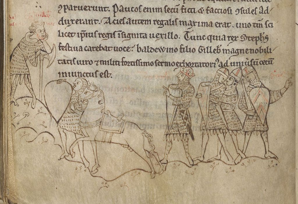 Medieval manuscript image of a king and five of his men dressed in coats of mail, one leading a horse.