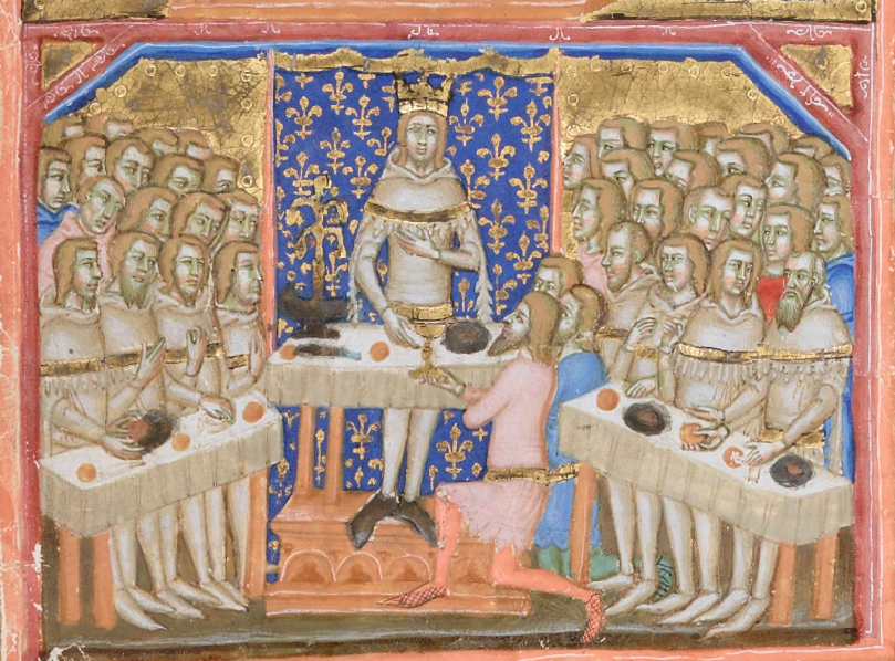 Medieval manuscript image of a king standing before a couple dozen men, who sit at tables on either side of him.