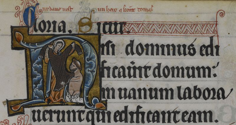 Medieval manuscript image of a woman holding up a hair-shirt for a tonsured man; the illustration is inside the letter N in the Latin word 'nisi'.
