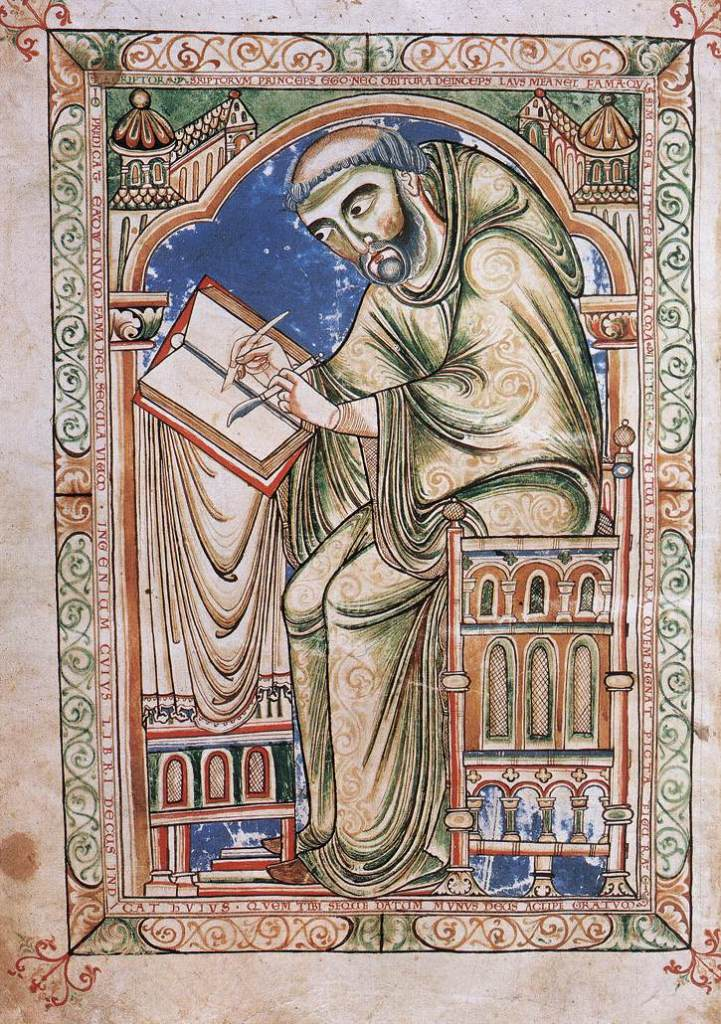 Medieval manuscript image of a monk working on a book with a pen and knife.