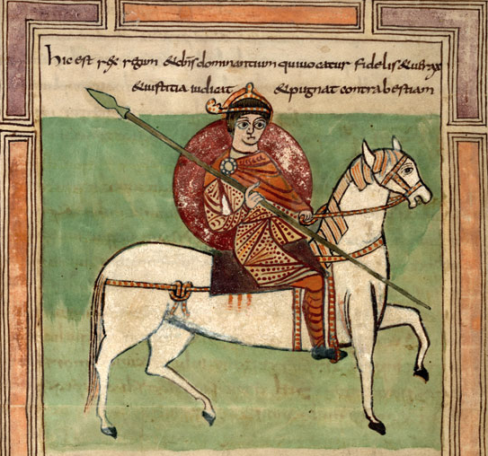 Medieval manuscript image of a king with a spear riding a white horse.