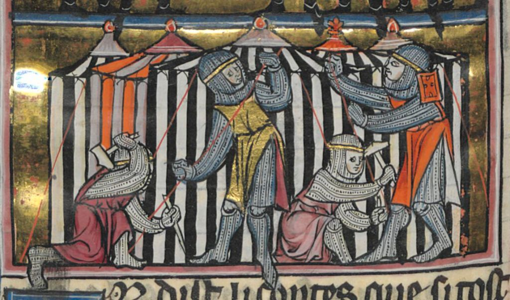 Medieval manuscript image of four men setting up a black-and-white striped tent.