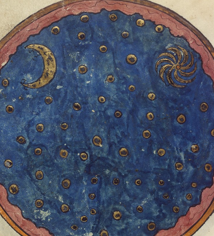 Medieval manuscript image of a gold crescent moon and sun on a blue sky  dotted with round gold stars.