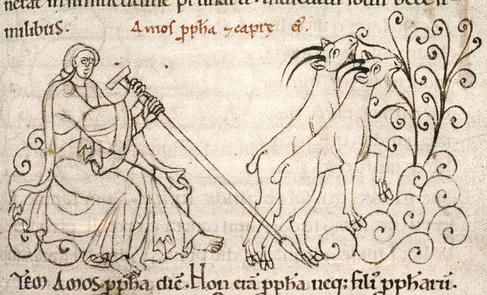 Medieval manuscript image of two goats chewing on some plants while a man sits and watches.