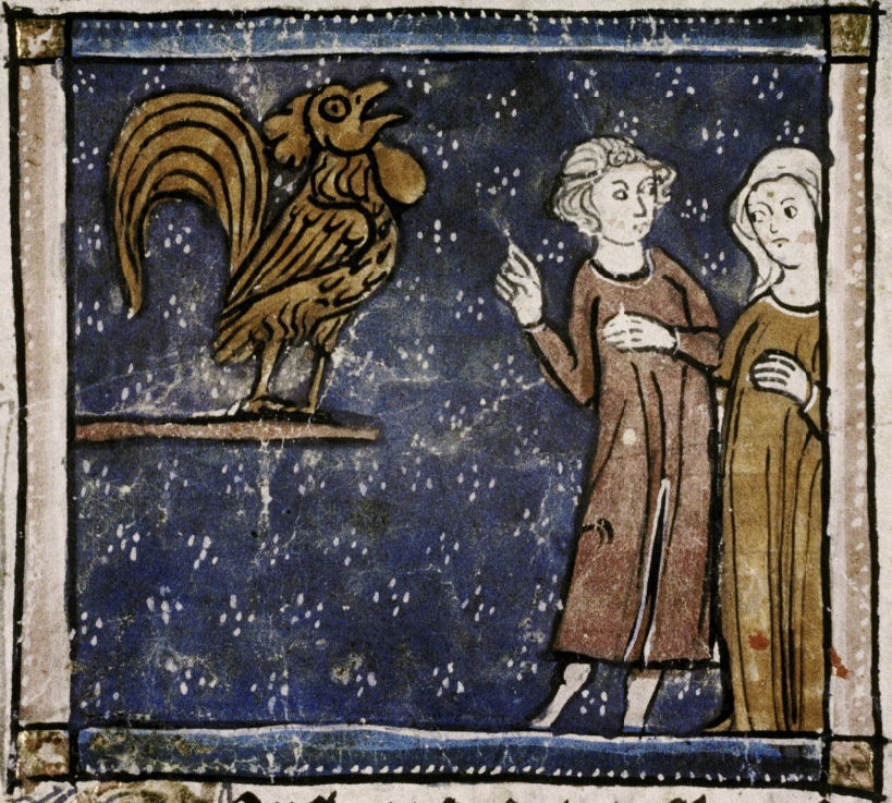 Medieval manuscript image of a cock crowing and a man and woman watching.
