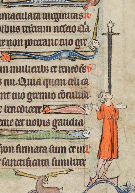 Medieval manuscript image of a man balancing a giant sword on his mouth, the sharp end pointing towards him.