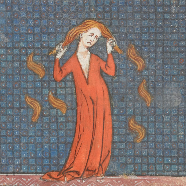 Medieval manuscript image of a woman tearing out her hair.
