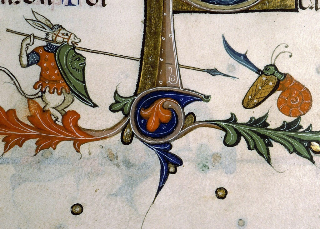 Medieval manuscript image of a donkey with a long spear fighting a snail with a large curved sword.